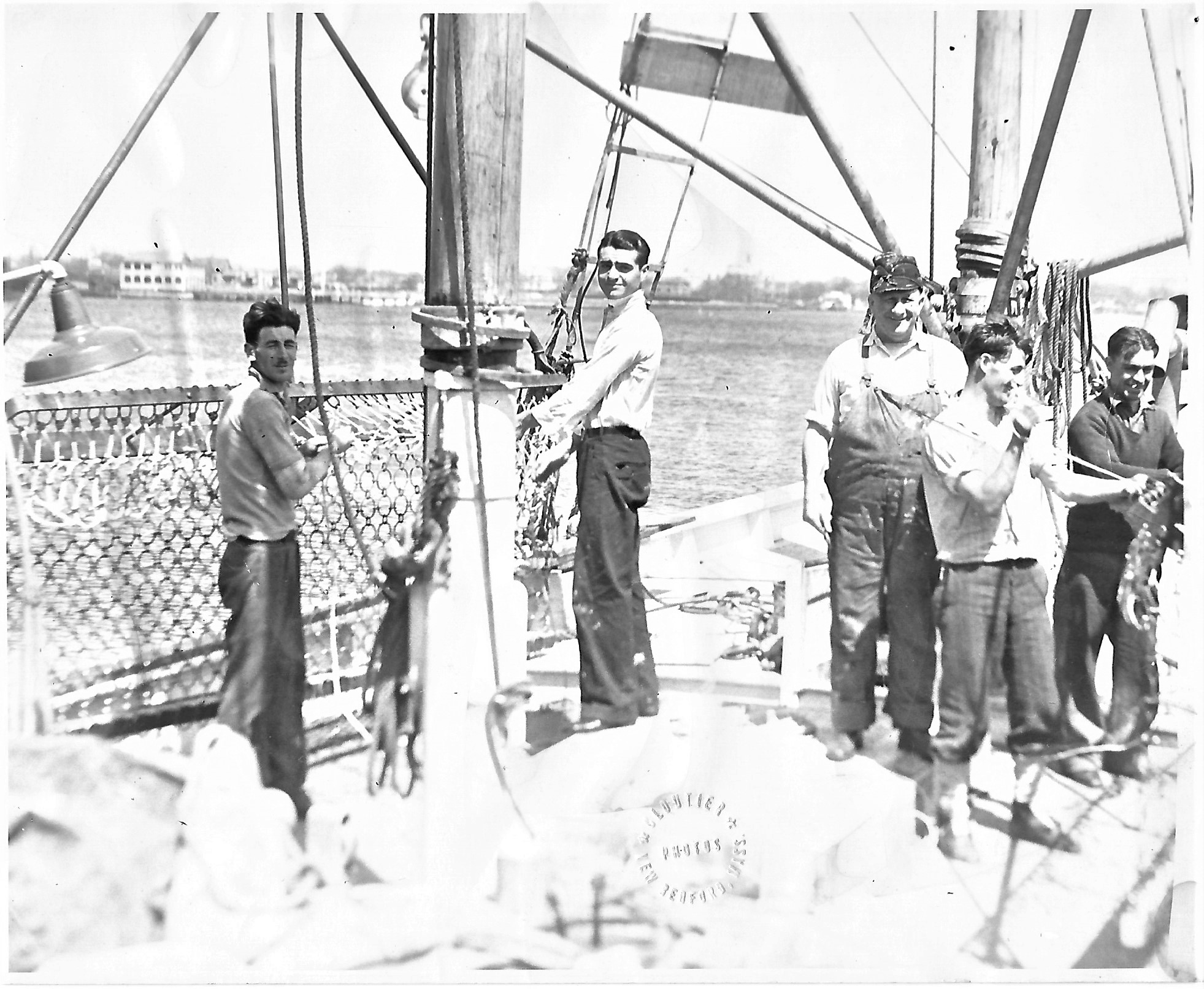 Addie Mae - 1930 or 31 - New Bedford - Repairing Scallop Dredge B&W